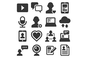 Media and Blog Icons set