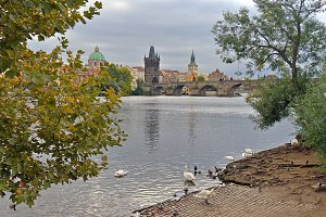 View of Charles Bridge and River in