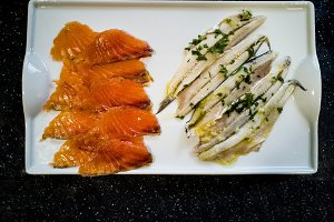 marinated salmon and anchovies