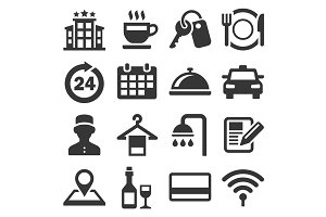 Hotel Room Service Related Icon Set