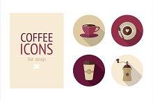 Flat coffee icons set + 2 pattern