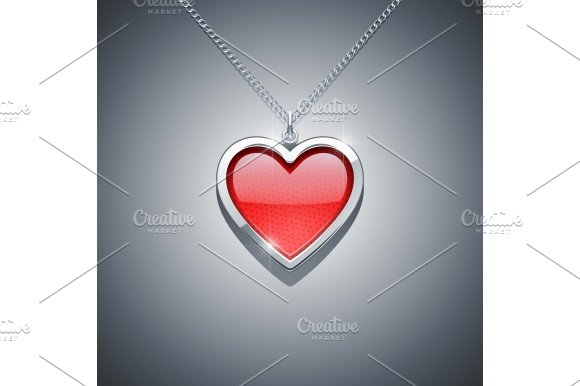heart on chain. jewellery decoration