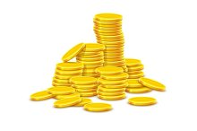 Gold coins cash money in hill rouleau