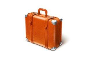 leather big suitcase
