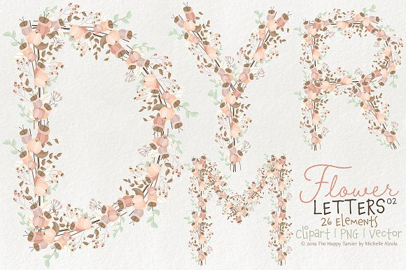 Flower Letters 02BI07 Floral Clipart in Illustrations - product preview 1