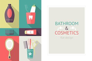 Flat bathroom icons + pattern