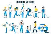 Set of household activities, in flat
