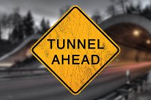 Scratched Tunnel Ahead Sign Decal by Nicholas Ritter in Metal