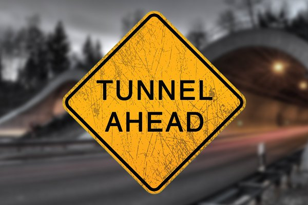 3D Metal: PixelMonster - Scratched Tunnel Ahead Sign Decal