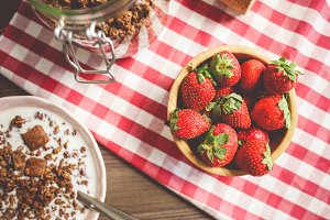 Fresh Strawberries Breakfast