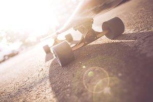 Longboard Truck & Wheels Close Up