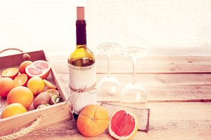 bottle of wine and fruits