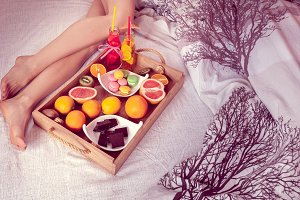 breakfast from fruits to bed