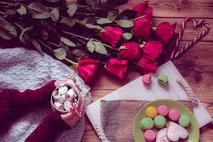 winter breakfast with red rose