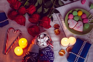 Candlelight dinner with red roses