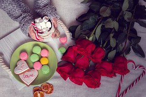 winter breakfast in bed with roses