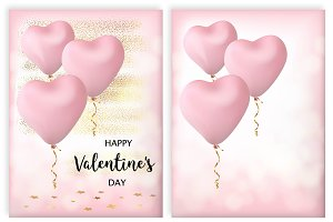 Set of two cards in vector for Valen
