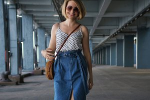 Fashionable girl in city