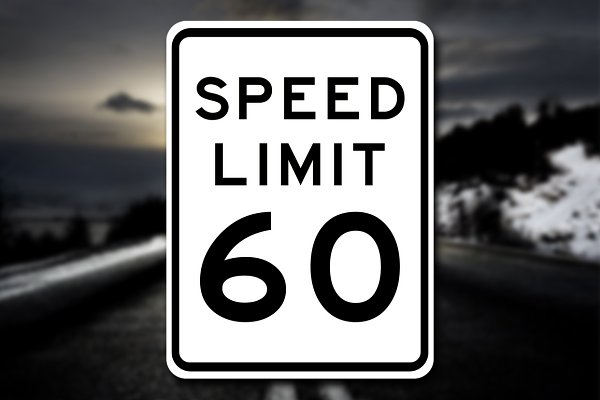 3D Metal: PixelMonster - New Speed Limit 60 Sign Decal