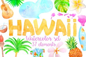 Watercolor Hawaiian summer  set