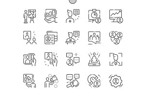 Engaging Presentations Line Icons