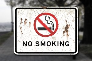 Scratched No Smoking Sign Decal