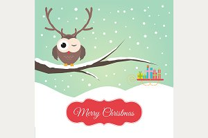 Owl Reindeer Christmas Card