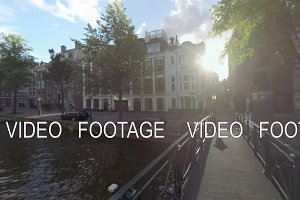 Amsterdam view with footbridge over