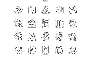 Maps Line Icons