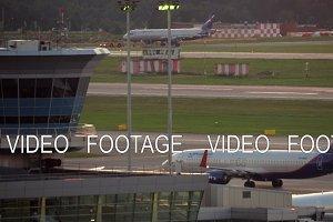 Terminal D and Aeroflot planes at