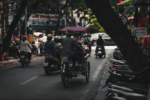 Busy streets in Hanoi Vietnam