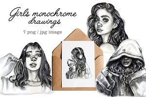 Girls, monochrome drawings