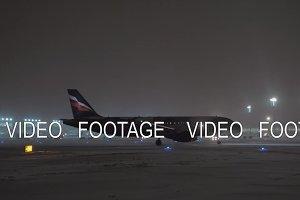 Busy Sheremetyevo Airport at winter