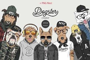 vector Hipster Dog portrait creator