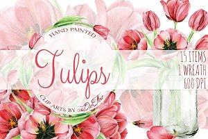 Tulip Watercolor Clip Art