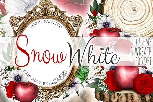 Snow White Watercolor Clip Art
