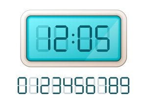 Blue digital clock display