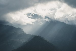 Sun rays over the mountain Sa Pa