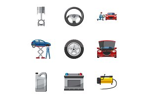 Repair machine icons set, cartoon