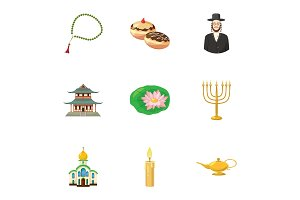 Spirituality icons set, cartoon