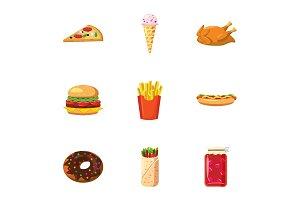 Calorie food icons set, cartoon