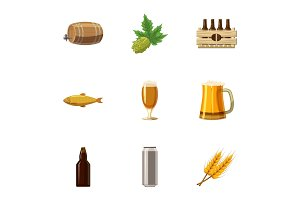 Folk festival of beer icons set
