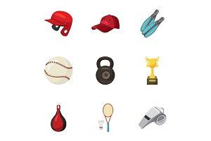 Sport exercise icons set, cartoon