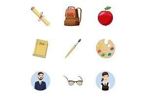 Children education icons set