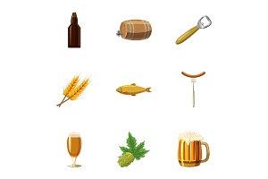 Oktoberfest icons set, cartoon style