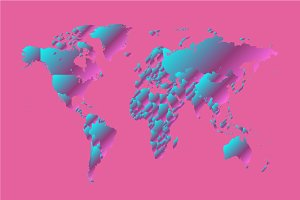World map pink neon gradient modern