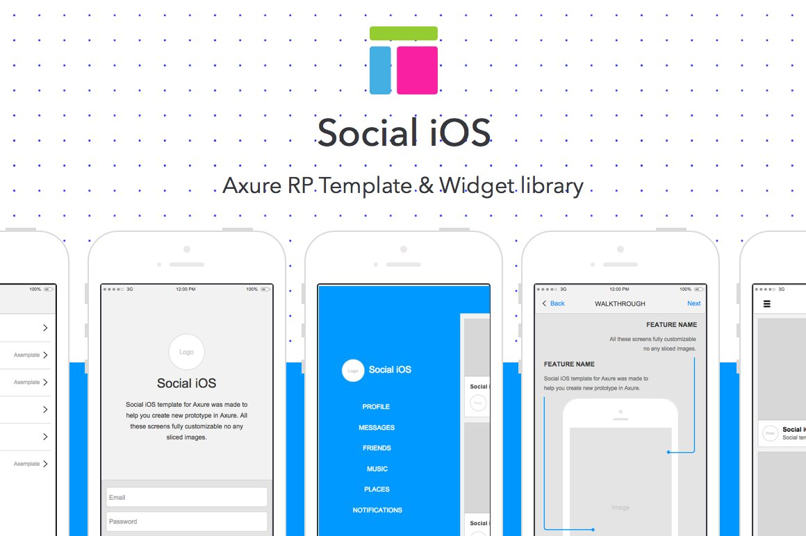 Axure template / Social iOS ~ Website Templates ~ Creative Market