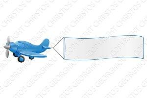 Airplane Pulling Banner Cartoon
