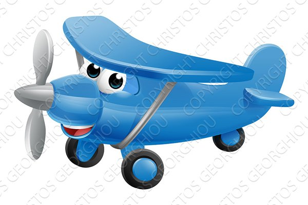 Airplane Cartoon Character Pre Designed Photoshop Graphics