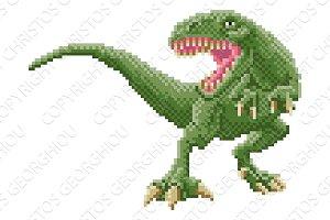 Dinosaur Trex 8 Bit Pixel Art Arcade